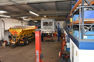Commercial vehicles being repaired in our Hamilton gearbox and repair workshop… keeping the winter roads clear